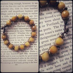 Antiqued faceted Carnelian gemstone bracelet
